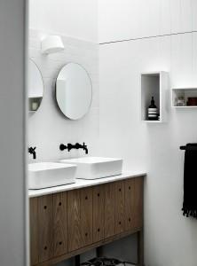 lavabo blanco+grifos negros