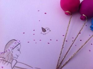 detalle de princesa hada regalos con globos